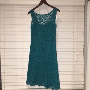 Short Sleeve Allover Lace Teal Bridesmaid Dress
